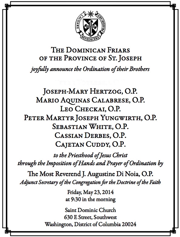 Announcement 2014 ordinations