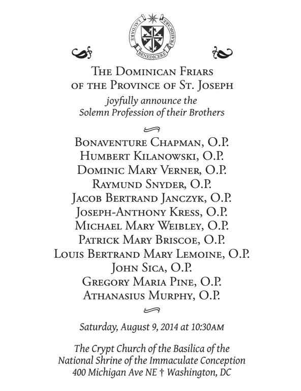 invite 2014 Solemn Vows