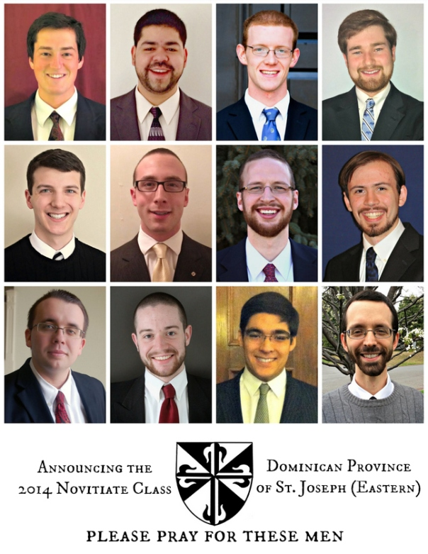 Men accepted for the 2014 novitiate